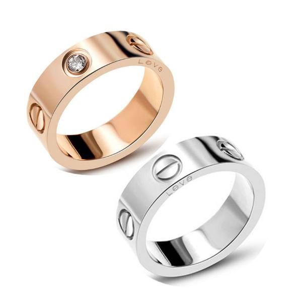 Free shipping 316L Titanium Steel carter Love Rings Women Men Couples Anel CZ Wedding Ring