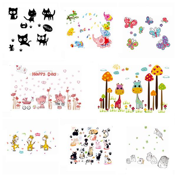 Zs Sticker Safari Wall Stickers Zoo Wall Decor Kids Room Home Decoration Animals Decal Nursery Mural Children Vinyl