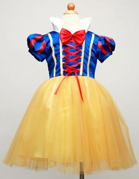 Novas meninas vestidos de neve branca natal halloween princess girl stage traje tutu dress crianças arco cosplay saias crianças roupas de desempenho