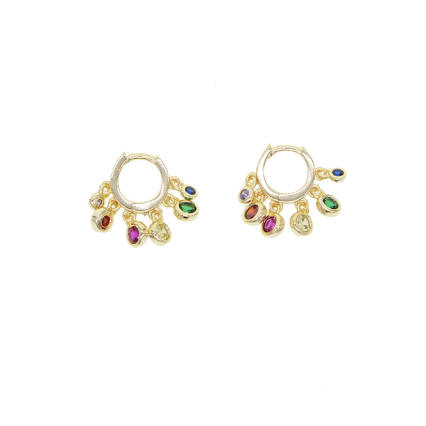 2018 New rainbow tiny cz dangle charm earring Gold color variou colored cubic zirconia round dot elegance fashion women mini circle earring
