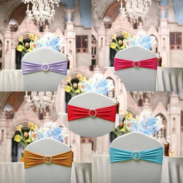 Stretch Spandex Lycra Chair Sash Bands With Round Buckle Elastic Banquet Chair Bow Tie For Hotel Event Wedding Decoration
