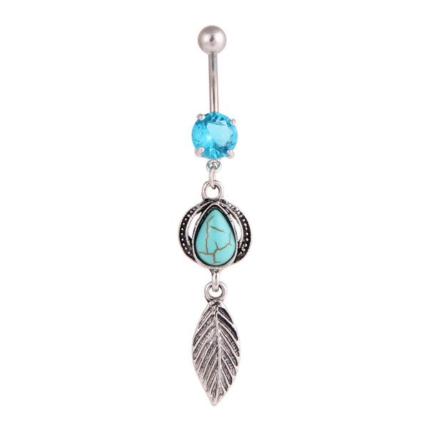 Fashion Belly Button Rings 316L Stainless Steel Barbells Dangle Turquoise Ball Match Feather Navel Rings Piercing Jewelry