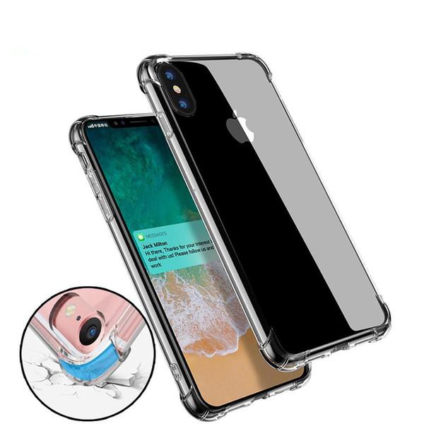 Super anti-knock soft tpu transparente limpar phone case capa proteger à prova de choque casos macios para iphone 6 6 7 8 plus x samsung s8 mais nota8