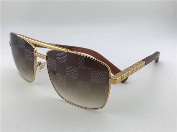 Vintage Square Attitude Pilot Sunglasses Gold/Brown Sonnenbrille Luxury Brand Designer Sunglasses for men Gafas de sol new with box