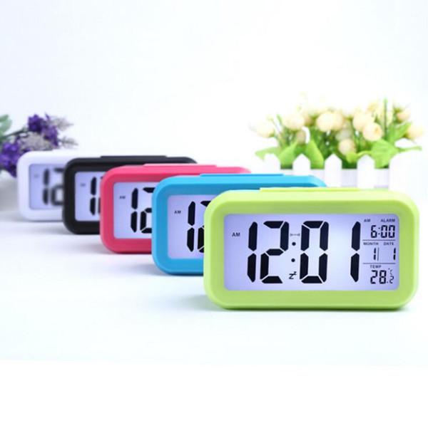 Smart Sensor Nightlight Digital Alarm Clock with Temperature Thermometer Calendar,Silent Desk Table Clock Bedside Wake Up Snooze SN703