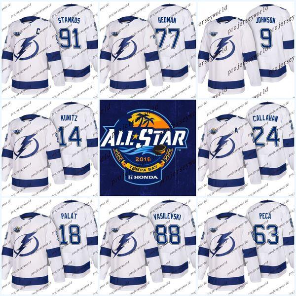 new concept 377de 41345 2019 Youth 2018 All Star Game Tampa Bay Lightning 9 Tyler Johnson 91 Steven  Stamkos 77 Victor Hedman 86 Nikita Kucherov Ben Bishop Hockey Jerseys From  ...
