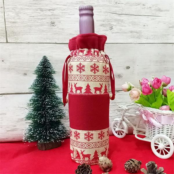 2018 Novo Natal Red Wine Bottle Cover Flocos De Neve Elk Garrafa De Vinho Casaco de Jantar Do Partido Decoração de Mesa