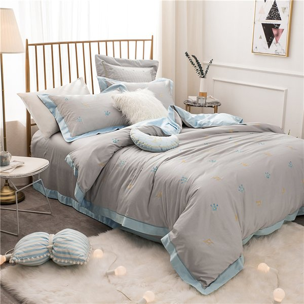 Роскошные постельные принадлежности king queen size постельное белье включают пододеяльник/простыня/наволочки корона вышивка постельные принадлежности набор