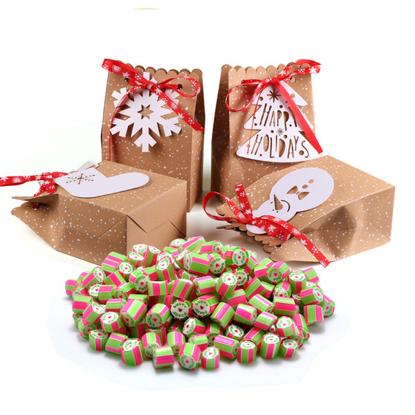 4pcs Kraft Paper Christmas Gift Bags New Year Gifts Candy Bags 4 Style with White Tags Red Snowflake Ribbon New year Product