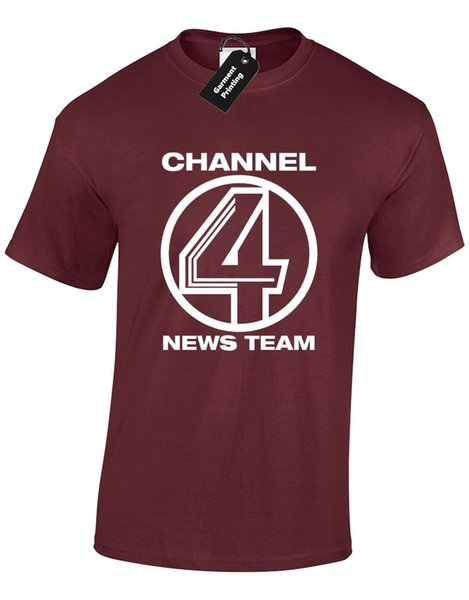 CHANNEL 4 NEWS TEAM MENS T SHIRT TEE ANCHORMAN BURGUNDY RON BRICK TAMLAND Cool Casual pride