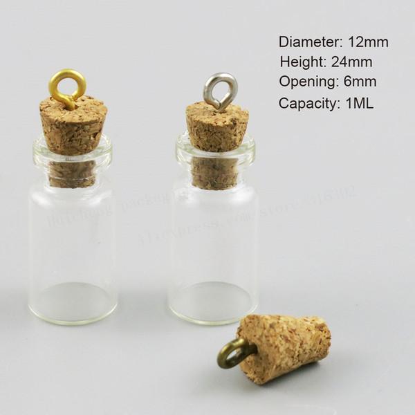 50 x Small Mini Cute 1 ML Charm Glass Bottle con corcho utilizado como DIY Wishing Glass Vial muestras colgantes frascos