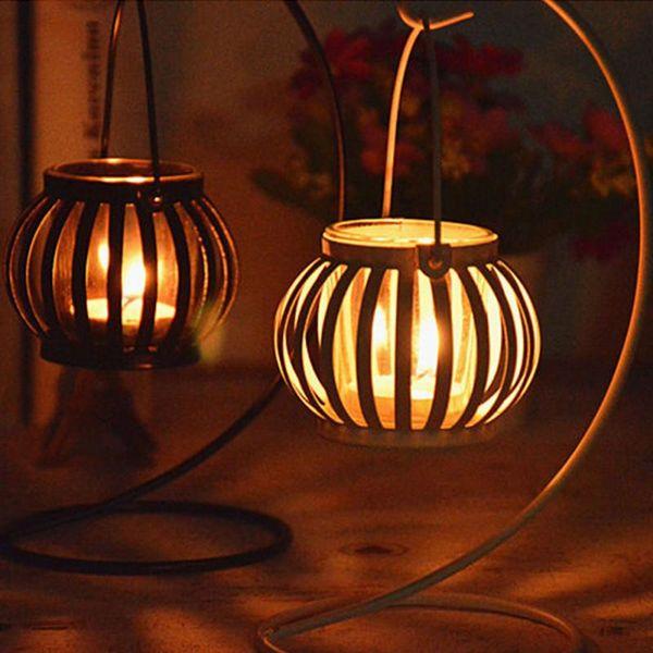 free shipping hot 2018 European style Retro pumpkin candlestick ornament metal iron art hanging lamp candle holder ornament AQI-546