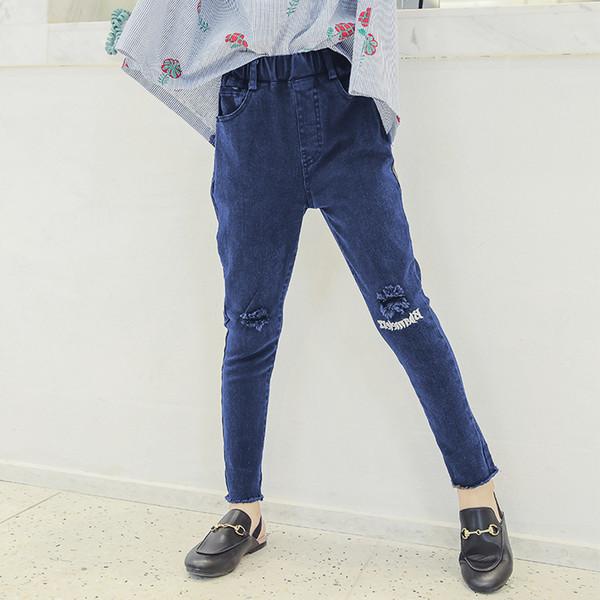 revisa d88de 8ab13 Compre Pantalones Vaqueros Rotos Para Niñas Otoño 4 5 6 8 8 9 11 12 13 Años  De Regreso A La Escuela Niños Pantalones De Mezclilla Pantalones Ropa De ...