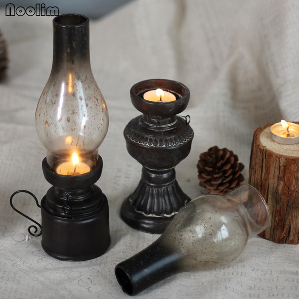 Retro NOOLIM Lampada A Kerosene Vintage Ornamenti Resina Candeliere Puntelli Creativa Candle Holder Home Cafe Bar Decorazioni di Nozze