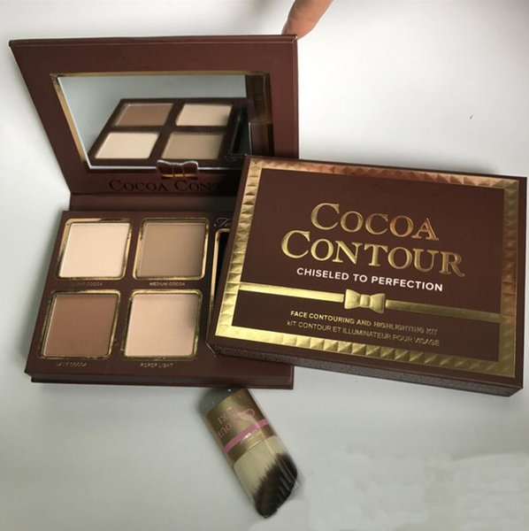 Brand COCOA Contour Kit 4 Colors Bronzers Highlighters Powder Palette Nude Color Shimmer Stick Cosmetics Chocolate Eyeshadow with Brush