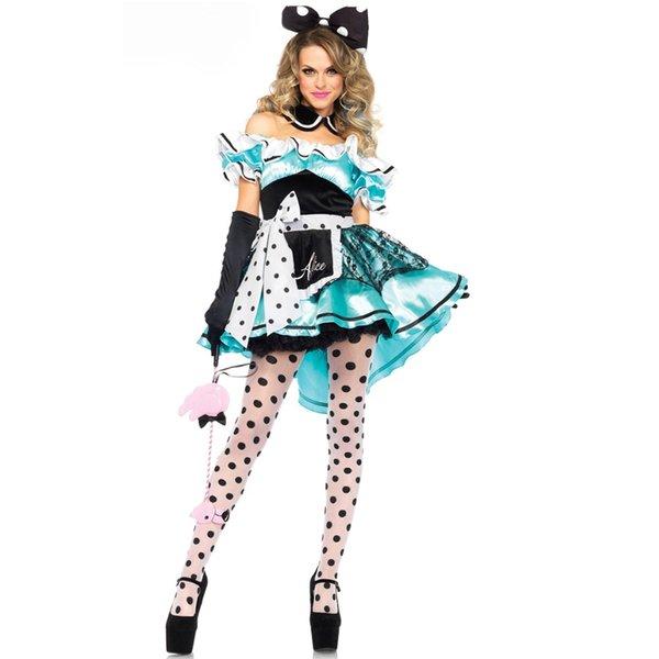 Vente chaude Alice au Pays des Merveilles Costume Cosplay Fantasia Carnaval Halloween Costumes pour Femmes Fantaisie Dentelle Culotte Robe sexy