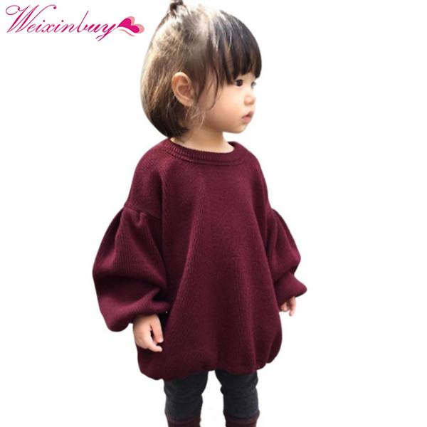 2017 Marcas de Bebé Niñas Suéteres Plisados Para Niñas Invierno Nuevas Niñas de Manga Larga de Punto Suéter Rojo Sólido Ropa Niños