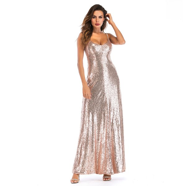 S-2XL women sexy sequined dress summer holiday backless strapless strap dress brand lady night evening party maxi dress