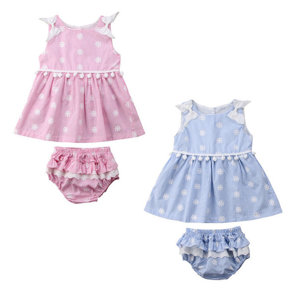 Toddler Infant Baby Girl Kids Lace Print butterfly Sleeve Dresses Tops+ icing Shorts Pants Summer Outfits Clothes
