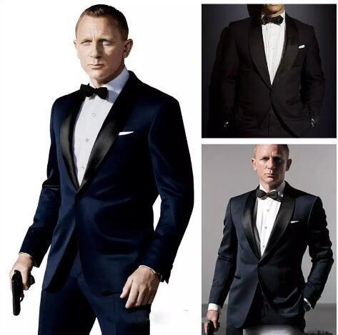 007 James Dark ligação azul Noivo Smoking Jacket + Pant + Tie Mens Fashion Tux Smoking Boyfriend Blazer Noivo Mens Clothing Speech