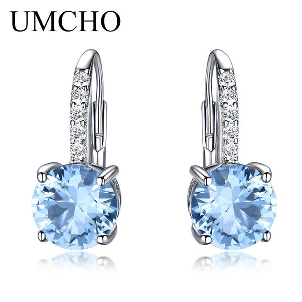 UMCHO Real 925 Sterling Silver Clip Earrings For Women Gemstone Sky Blue Topaz Female Earrings Round Wedding Gift Fine Jewelry Y18110503