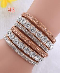 Double Wrap carrés cloutées en cuir bracelet bracelet manchette Qualité Fermoir Noir