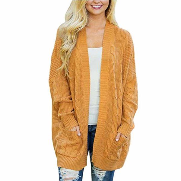 New Hot Women Fashion Open Front Long Sleeve Knit Sweater Cardigan Ladies Casual Loose Pockets Twist Sweater Coat Outwear Tops