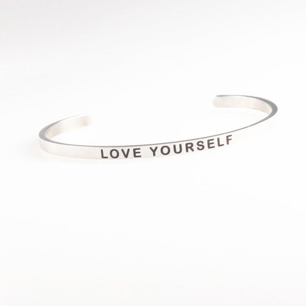 Hot sale Silver Stainless Steel Engraved LOVE YOURSELF Positive Inspirational Hand Stamped Cuff Bracelet Bangle For Women Best Gifts 10Pcs