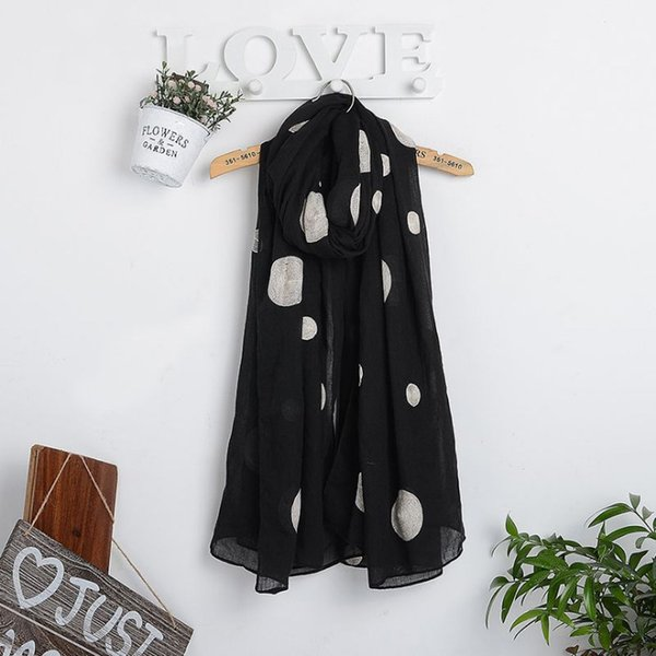 2018 hot spring and autumn new embroidery size dot scarf fashion cotton and linen 180*90 (cm) super large ethnic retro ladies scarf