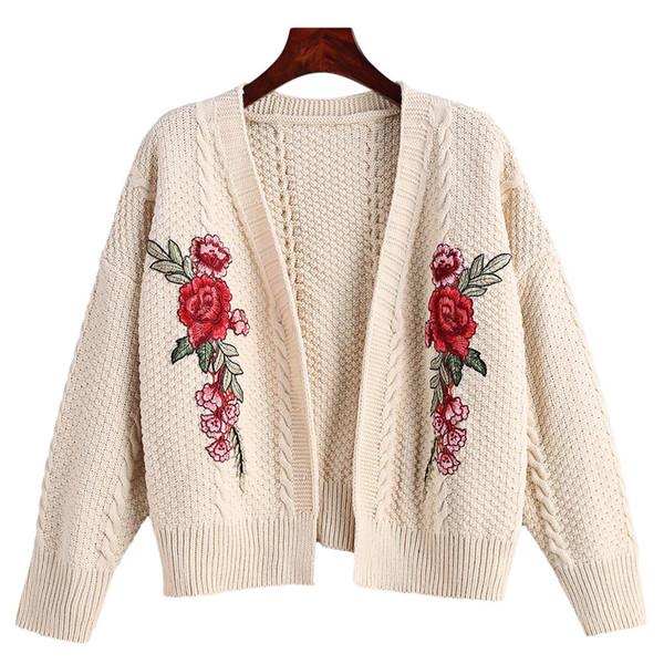 Suéter femenino 2018 Manga larga Suéter de mujer Otoño Invierno Cable Tejido Bordado floral Cardigan