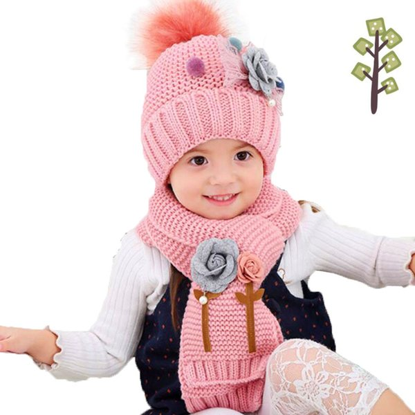 Girls Winter Hat Scarf Set For Kids Flower Hailball Beanies And Scarves Child Fur Pom Pom Knit Cap Warm 2 Pcs Suit MZ5322