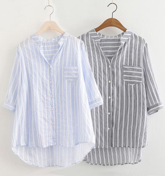Camicia a righe a manica lunga con scollo a V a maniche lunghe in cotone con maniche lunghe Camicie a maniche lunghe camicetta C3572