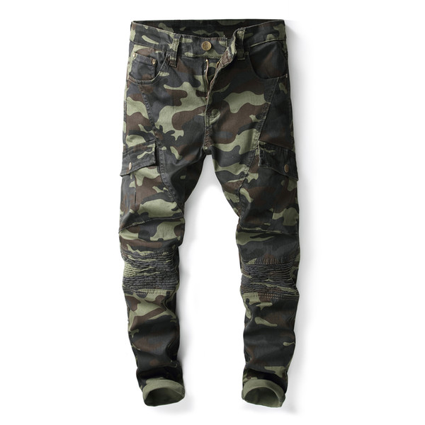 Mens Camouflage Patchwork Jeans Long Trousers Denim Pencil Pants Slim Multiple Pockets Overalls Mens Fashion Fit Jeans Free Shipping