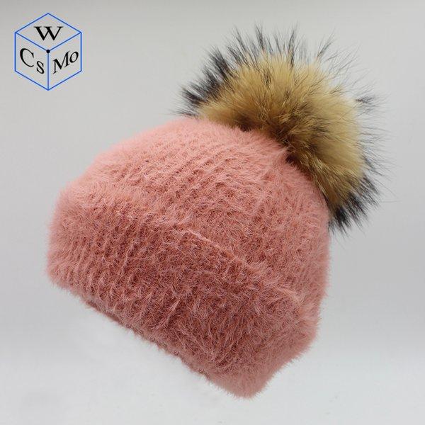 Skullies Berretti per adulti Cappellino di pelliccia Cappelli invernali  Donna Pompon Berretti con teschio per berretto d174169de0cc