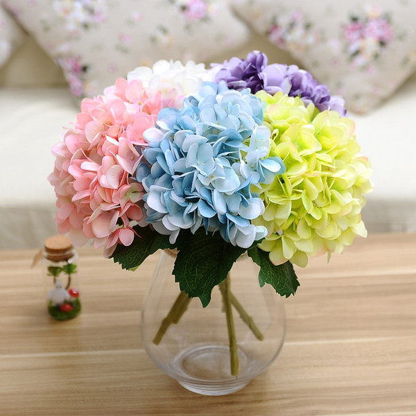 47cm Artificial Hydrangea Flowers Fake Silk Single Real Touch Hydrangeas 8 Colors For Wedding Centerpieces Home Party Decorative Flowers