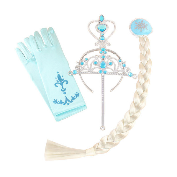 4PCS/Set Cosplay Princess Crown Set Tiaras Headwears Magic Wand Gloves Wig Party Dress Up Costume Accessories For Children Kids XMAS HH7-338