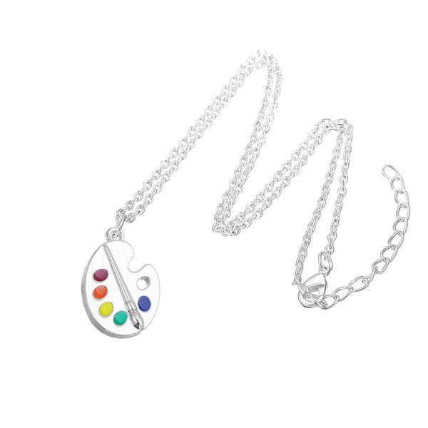 Lemegeton Künstler Farbpalette und Pinsel Anhänger Halskette Beste Geschenk für Maler Modeschmuck Personalisierte Accessoires