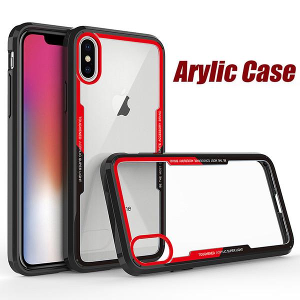 Clear Acrylic TPU Bumper Phone Case For iPhone XS Max XR X 8 7 6 Samsung S6 S7 Edge S8 S9 Plus Note 9 J2 Pro A6 A8 2018 A5 2017 J3 J5 J7 Pro