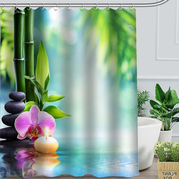 Compre Venta Caliente Cortina De Ducha De Bambú Verde Baño Personalizado Decoración Cortinas De Baño De Poliéster Cortinas A 2251 Del Hariold