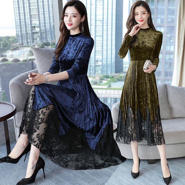 2018 autumn and winter women's retro velvet pleated stitching lace long dress female fashion elegant bodycon lace dresses