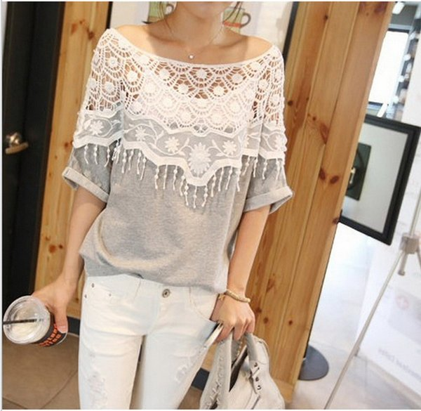 1PC Lace Cutout Collar Casual Tops Batwing Sleeve Women T Shirt Crochet Cape Collar Hollow Out Cotton T-shirt