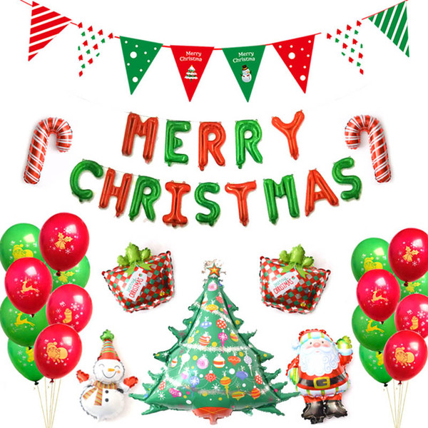 Merry Christmas Letter T.Christmas Decorations Foil Balloons Set Inflatable Merry Christmas Letter Air Balls Xmas Ornament Christmas Tree Flag Bell Balloon Supplies Christmas