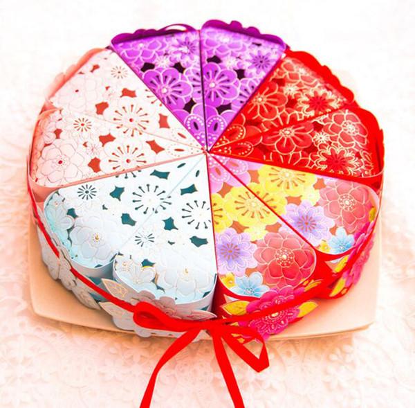 Venta al por mayor 500 / lot pastel coreano caja de dulces forma de triángulo bolsa de envoltura de regalo boda de cumpleaños caja de pastel de chocolate