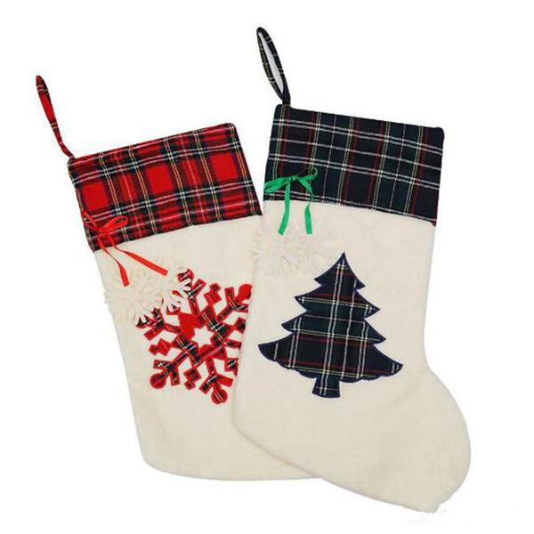 Снежинка плюшевые рождественские чулки оптом заготовки плед дерево украшения чулок манжеты Рождественский подарок держатель бесплатная доставка
