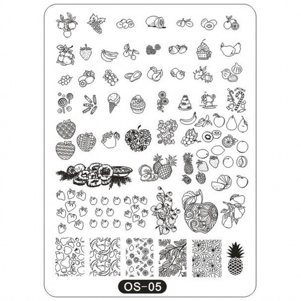 1Pc OS Series Big Stamping Plates 10*14cm Rec Plates Animal/ Fruits/ Cartoon Image Stamp Templates Stencil Tool OS5