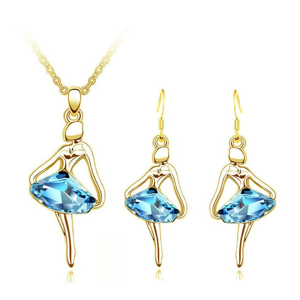 Atreus Fashion Hot Dancing Girl Pendant with Blue Stone Cubic Zirconia Charm Necklace Earrings Jewelry Set For Women Party 2018