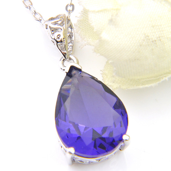 Top Quality Luckyshine 5Pcs Water Drop Amethyst AAAA Zircon Gemstone 925 Silver Pendant American Weddings Pendants Necklace Jewelry Gift New