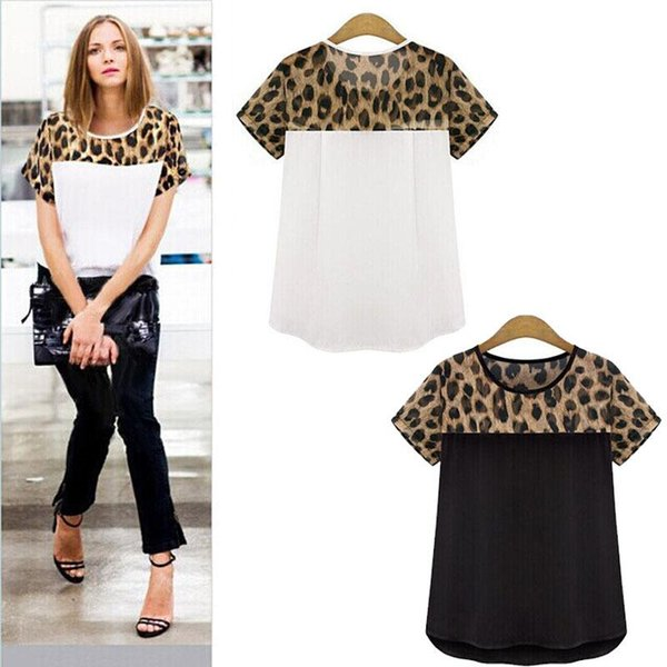 Wholesale-Feitong 2 Colors Plus Size 3XL Summer Women Casual Clothing Leopard Printing Patchwork Chiffon Tops Tee Shirt blusas feminina