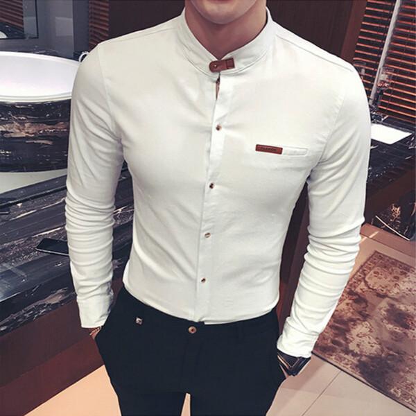 2018 homens moda primavera autumnshirts manga comprida sólida casual preto branco slim fit clothing moda cor camisa sem colarinho