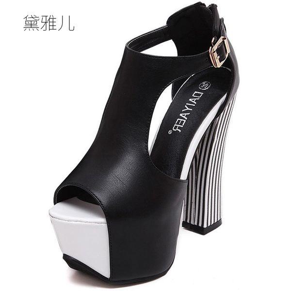 2018 Fashion Black White Summer Style Sexy ultra alta piattaforma tacchi sandali per donna con scarpe donna abito da sposa Ladies